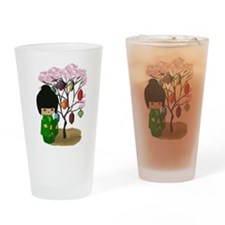 Green Kawaii Kokeshi Doll Pint Glass