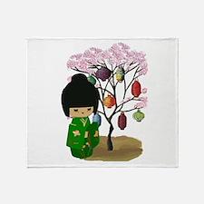 Green Kawaii Kokeshi Doll Throw Blanket