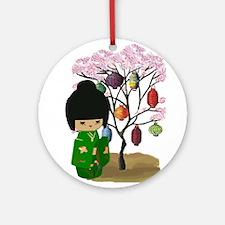 Green Kawaii Kokeshi Doll Ornament (Round)