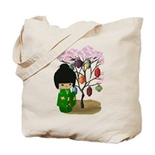 Green Kawaii Kokeshi Doll Tote Bag