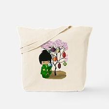 Green Kawaii Kokeshi Doll Tote Bag