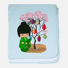 Green Kawaii Kokeshi Doll baby blanket