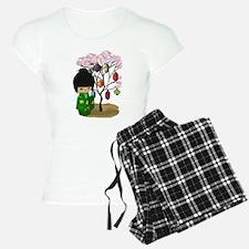 Green Kawaii Kokeshi Doll Pajamas