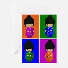 pop art Kawaii Kokeshi Dolls Greeting Cards (Pk of