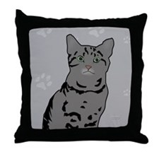 Gray Tabby Kitty Throw Pillow