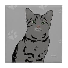 Gray Tabby Kitty Tile Coaster