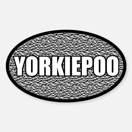 Silver Metallic Yorkiepoo Oval Decal