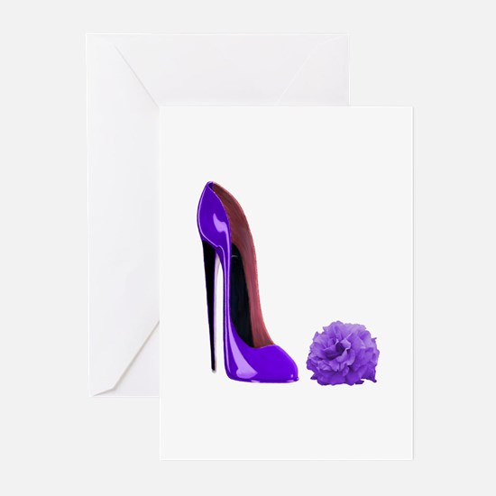 Lilac Stiletto Shoe and Rose Greeting Cards (Pk of