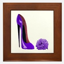 Lilac Stiletto Shoe and Rose Framed Tile