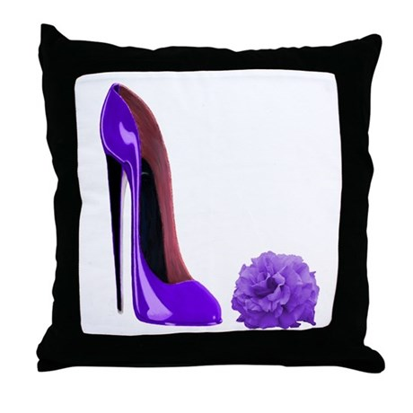 Lilac Stiletto Shoe and Rose Throw Pillow