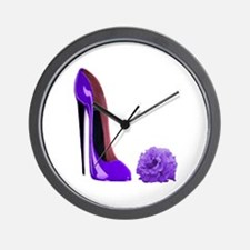 Lilac Stiletto Shoe and Rose Wall Clock