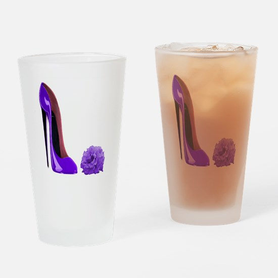 Lilac Stiletto Shoe and Rose Pint Glass