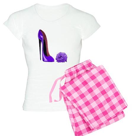 Lilac Stiletto Shoe and Rose Women's Light Pajamas