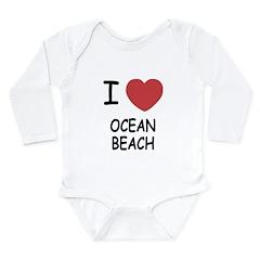 I heart ocean beach Long Sleeve Infant Bodysuit