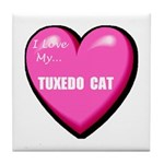 I Love My Tuxedo Cat Tile Coaster