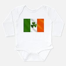 Irish Shamrock Flag Long Sleeve Infant Bodysuit