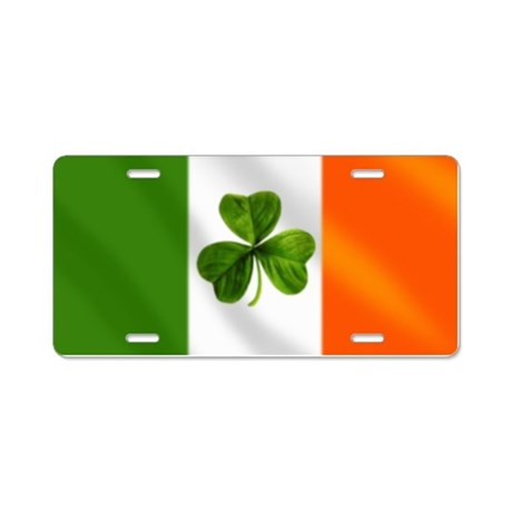 Irish Shamrock Flag Aluminum License Plate