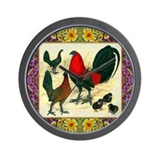 Flower Framed Gamefowl Wall Clock