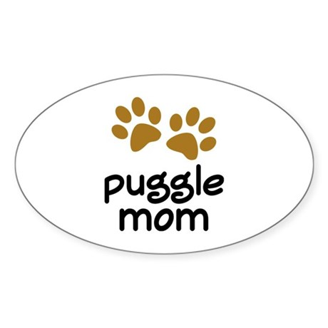 Cute Puggle Mom Sticker (Oval)