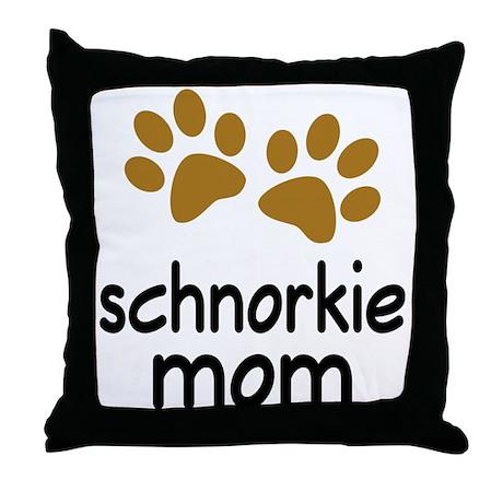 Cute Schnorkie Mom Throw Pillow