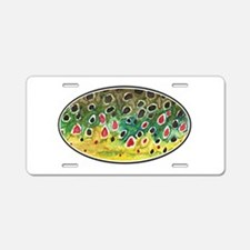 Brown Trout Fly Fishing Aluminum License Plate