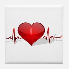 heart beat Tile Coaster