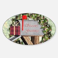 Season's Greetings Postbox Wreath Stickers