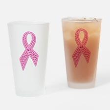 Pink Ribbon Jewels Drinking Glass