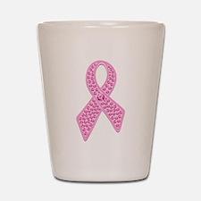 Pink Ribbon Jewels Shot Glass