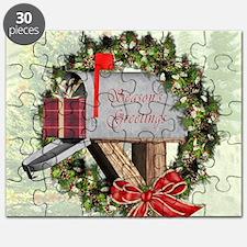 Season's Greetings Postbox Wreath Puzzle