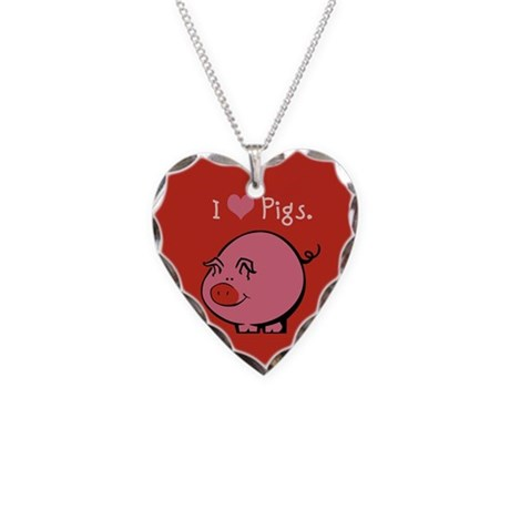 I Like Pigs Necklace Heart Charm