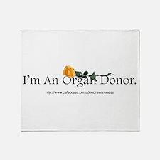 Organ Donor Rose Throw Blanket