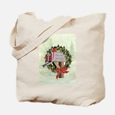 Season's Greetings Postbox Wreath Tote Bag