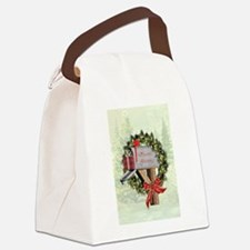 Season's Greetings Postbox Wr Canvas Lunch Bag