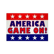 America Game On Rectangle Magnet (10 pack)