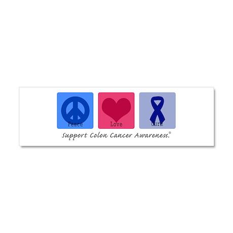 Peace Love Colon Cancer Car Magnet 10 x 3