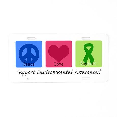 Peace Love Environment Aluminum License Plate