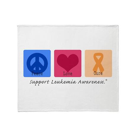 Peace Love Cure Leukemia Throw Blanket