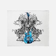 Praying Angel Skeleton Guitar Throw Blanket