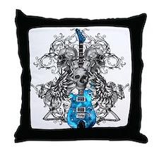 Praying Angel Skeleton Guitar Throw Pillow