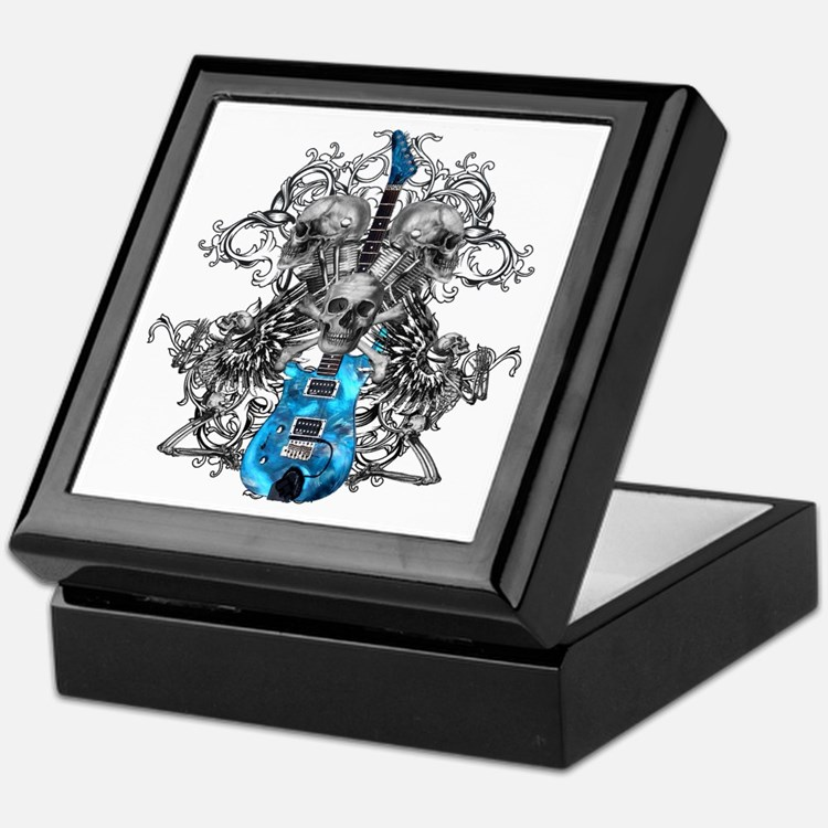 Praying Angel Skeleton Guitar Keepsake Box