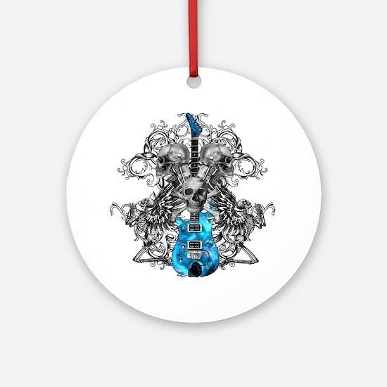 Praying Angel Skeleton Guitar Ornament (Round)