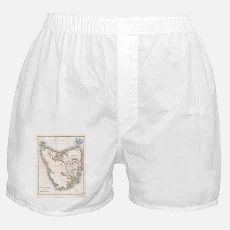 Vintage Map of Tasmania (1837) Boxer Shorts