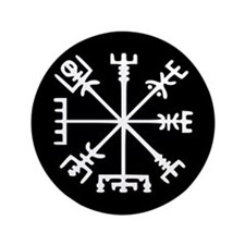 "Viking Compass : Vegvisir 3.5"" Button"