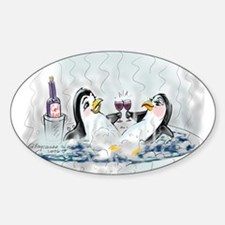 hOt tUb pEnGuInS Oval Decal