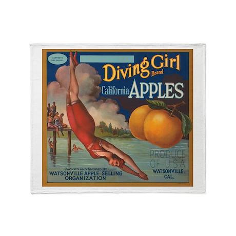 Diving Girl Throw Blanket