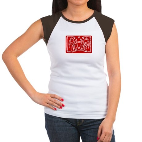 Tribal Sphinx Cats Women's Tee (red/white)