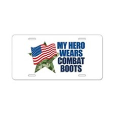 My hero wears combat boots Aluminum License Plate