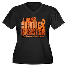 I Wear Orange 6.4 Leukemia Women's Plus Size V-Nec
