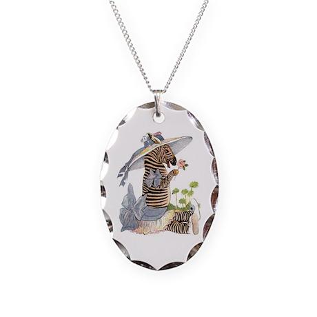 Playful Zebra Necklace Oval Charm